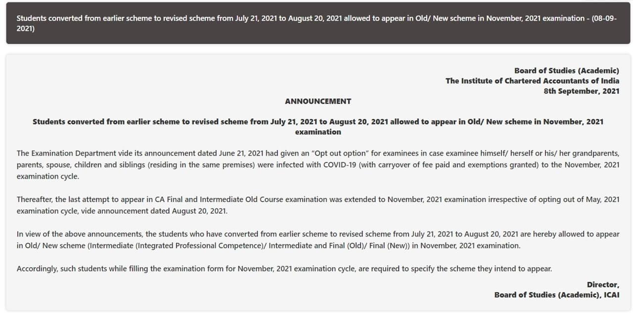 ICAI Announcement