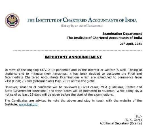 May 21 - CA Inter & Final Exams Postponed