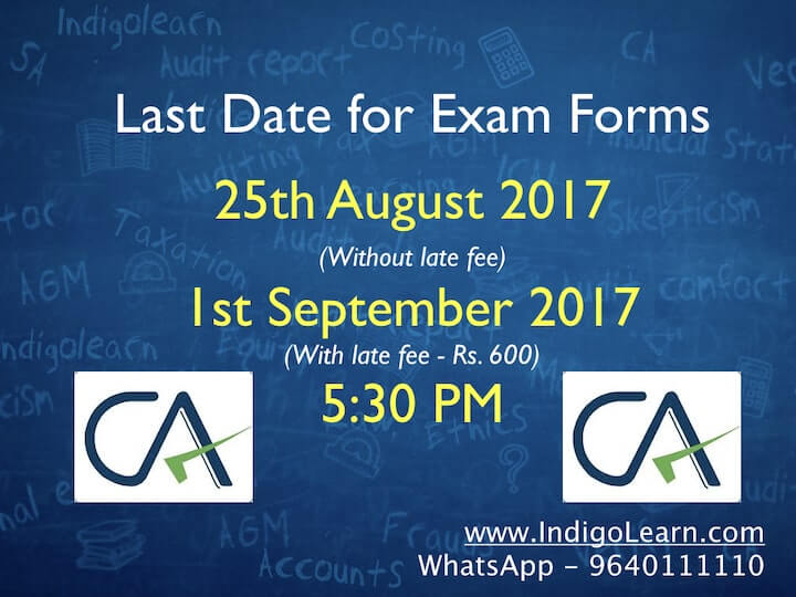 Last Day for ICAI Exam Forms Nov 2017 - 25th August