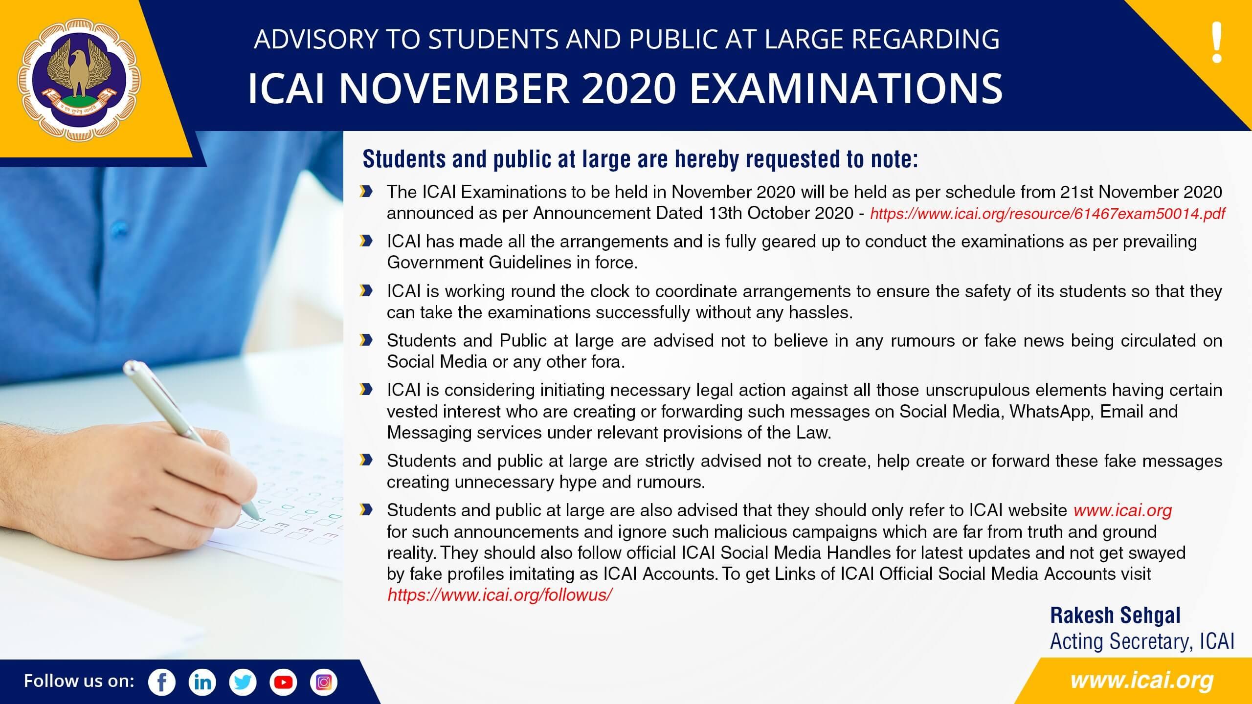 ICAI Advisory Nov 20 Exams